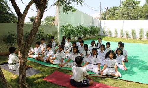 Students doing Meditation