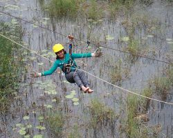 Zip Lining By Our Student in a Trip